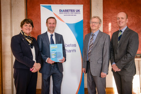 ​​​​​​​(Left to right) Northern Ireland's First Minister, Arlene Foster MLA, is joined by Diabetes UK Northern Ireland National Director, Dr David Chaney, Vascular Surgeon, Mr Bernard Lee and Consultant, Dr Hamish Courtney at the launch of the State of the Nation NI on World Diabetes Day in Stormont.