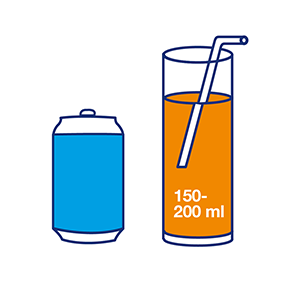 About 100 to 200 ml of a sugary drink